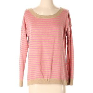 Old Navy Pink Tan Striped Sweater
